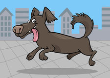 Running little dog cartoon illustration Royalty Free Stock Photos