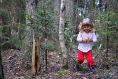 Running little girl in the forest Stock Photo