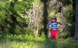 Running little girl in the forest Royalty Free Stock Image