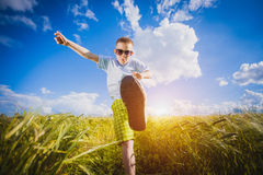 Running little happy boy meadow weat field Stock Image