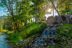 Running little waterfall and river Royalty Free Stock Images