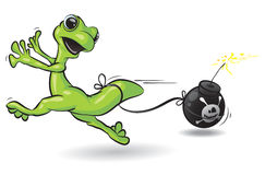 Running lizard with bomb royalty free illustration