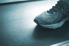 Running machine in sports health exercise club Stock Image