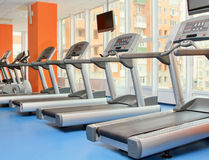 Running machines in fitness center Stock Images