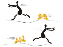 Running man. The Man runs and his overtake the money. The Vector illustration Royalty Free Stock Image