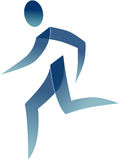 Running man. Blue graphical stylized running man Royalty Free Stock Images