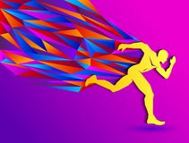 Running man, abstract sport silhouette, athletics concept with colorful runner. Eps available royalty free illustration