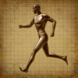 Running man active runner energy medical health. Human running man representing an active runner with a medical health and healthcare symbol on a grunge old Vector Illustration