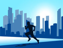 Running man against the city. silhouette of the sprinter Royalty Free Stock Photography