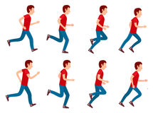 Running Man Animation Sprite Set. 8 Frame Loop. Collection of running man icons. Animation sprite set frame loop. Sport. Run. Active fitness. Exercise and Royalty Free Stock Photo