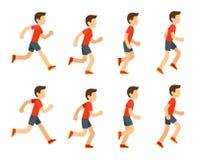 Running man animation. Running man animation sprite set. 8 frame loop. Flat cartoon style vector illustration Stock Photos