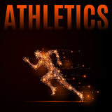 Running man athletics. Abstract line athlete in motion. Silhouette of a man made of lines and points. Background Athletics. Fire style vector illustration Stock Photography