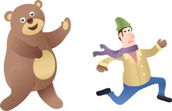 Running Man and bear. Isolated white background Royalty Free Stock Images