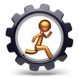 Running man character hard work inside gearwheel icon. Running man character hard work inside gearwheel businessman rotate cogwheel stylized golden human cartoon Stock Photography