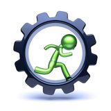 Running man character inside gear wheel. Gear wheel man green stylized inside, running character, cartoon guy human rotate cogwheel as hamster, person worker Stock Images