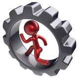 Running man character inside gearwheel human hard work. Running man character inside gearwheel human rotate cogwheel stylized red cartoon guy hamster person Royalty Free Stock Photo