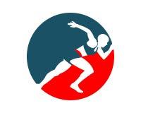 Running man circle silhouette Stock Images