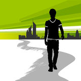 Running man in the city. Running man in the green city stock illustration