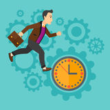 Running man on clock background. Royalty Free Stock Image