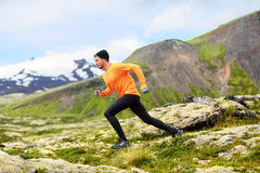 Running man in cross country trail run stock photo