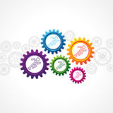 Running man in different cog wheel Stock Photography