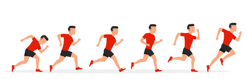 Running man in different positions. Stock Photos