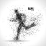 Running man dots vector illustration. Sport modern pointilism background Royalty Free Stock Image