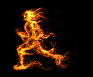 Running man from fire. Vector illustration. Royalty Free Stock Images