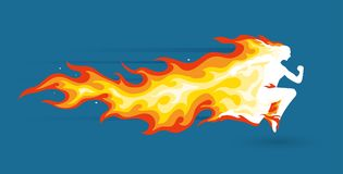 Running man in flame. Running person silhouette in burning flames Stock Images