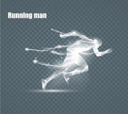Running Man, flying lightning, vector illustration. Running Man, flying lightning, vector illustration, solated on black background Royalty Free Stock Photography