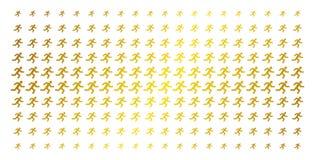 Running Man Gold Halftone Pattern vector illustration