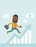 Running man into graph arrow up. A happy career guy running going to a graph arrow up and have a brilliant idea on how to achieve his goal. Business progress Stock Photo