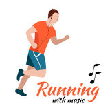 Running man with headphones Stock Photos