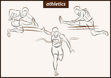 Running man. Hurdle race. Athletics Stock Photo