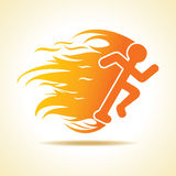 Running man icon with fire. Stock vector Royalty Free Stock Images