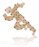 Running man made of boxes on white Royalty Free Stock Images