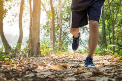 Running man. Male runner at sprinting speed training for maratho. N outdoors Stock Photography