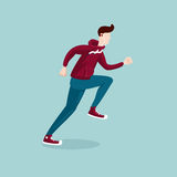 Running man. The man on the run.  cartoon sportsman Royalty Free Stock Images