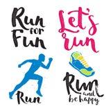 Running man marathon logo jogging emblems label and fitness training athlete symbol sprint motivation badge success work Stock Image