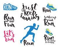 Running man marathon logo jogging emblems label and fitness training athlete symbol sprint motivation badge success work Royalty Free Stock Images