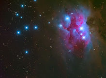 Running Man Nebula in Orion. NGC 1973/5/7 is a reflection nebula 1/2 degree northeast of the Orion Nebula. The three NGC objects are divided by darker regions Royalty Free Stock Photography