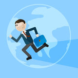 Running man over globe background. Vector illustration Stock Photography