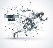 Running Man, particle divergent composition, vector illustration. Royalty Free Stock Images