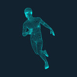 Running Man. Polygonal Design. 3D Model of Man. Geometric Design. Business, Science and Technology Vector Illustration. 3d Polygonal Covering Skin. Human Royalty Free Stock Image
