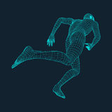 Running Man. Polygonal Design. 3D Model of Man. Geometric Design. Business, Science and Technology Vector Illustration. 3d Polygonal Covering Skin. Human Stock Photography