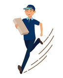 Running man with postal box. Courier with parcel. Vector illustration Stock Photography