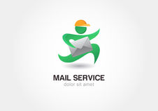 Running man with postal envelope. Courier with parcel. Mail serv Stock Photo
