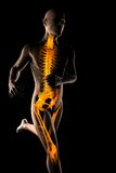Running man radiography. On black Stock Images