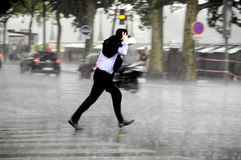 Running man in the rain Royalty Free Stock Images