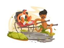 Running man with rickshaw Stock Images